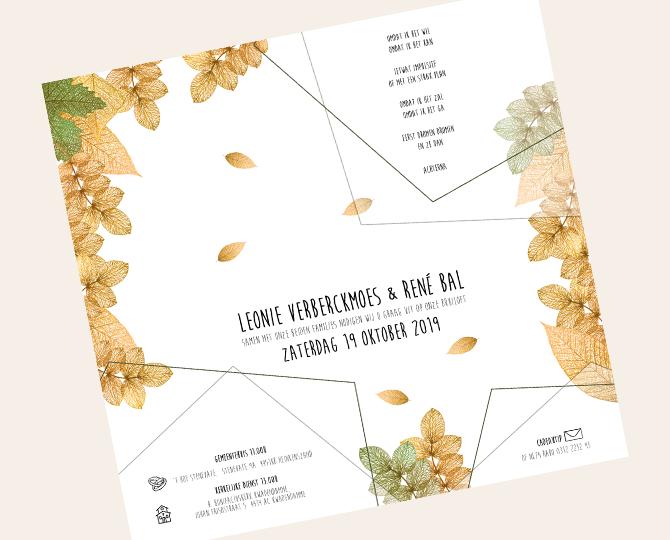 Uitnodiging in botanische stijl herfst recto