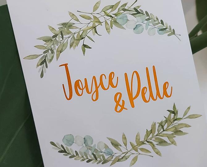 Huwelijksuitnodiging in botanische stijl