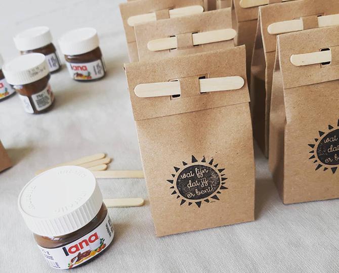 Eerste communie traktatie choco nutella in kraft verpakking