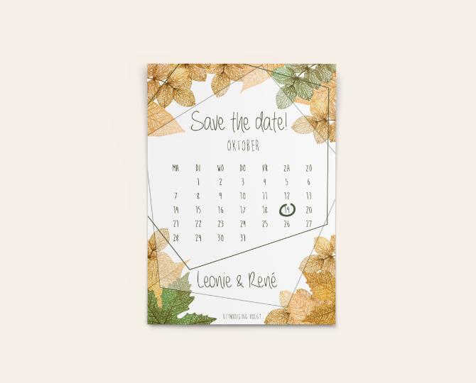 Uitnodiging in botanische stijl save the date