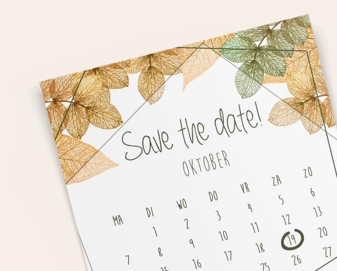 Uitnodiging in botanische stijl save the date kaartje herfst