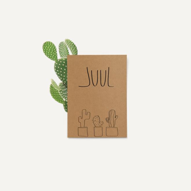 Header geboortekaartje op kraftpapier cactus