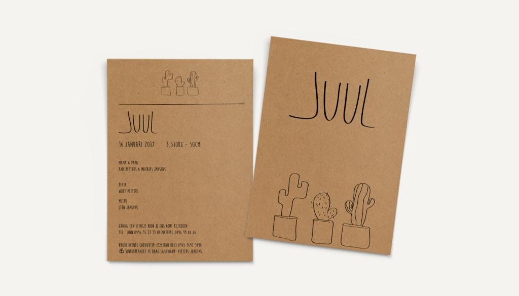 geboortekaartje op kraftpapier cactus