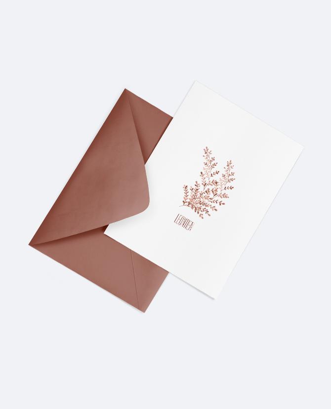 Botanisch geboortekaartje met enveloppe