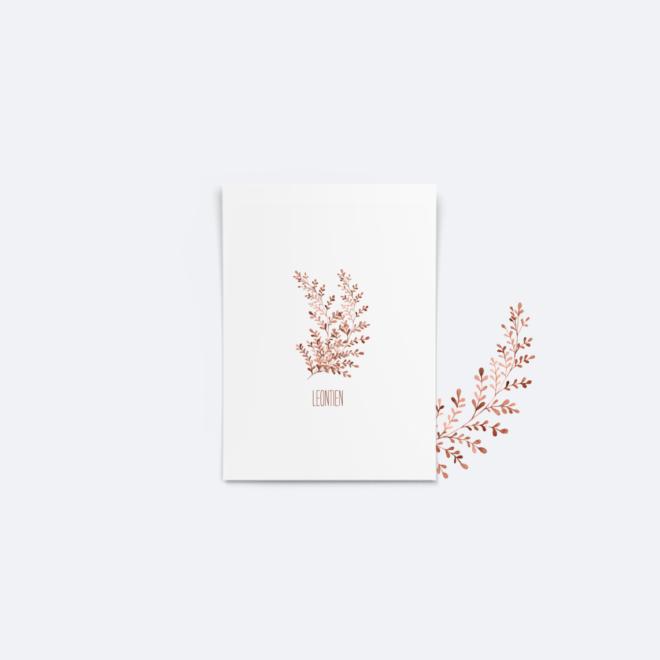 Botanisch minimalistisch geboortekaartje