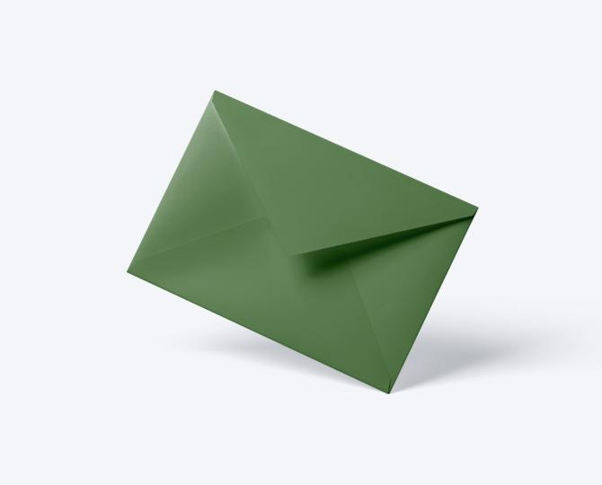Enveloppe Groen geboortekaartje communie huwelijk