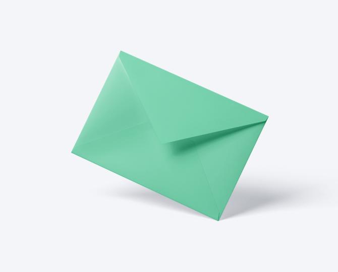 Enveloppe Munt groen geboortekaartje communie huwelijk