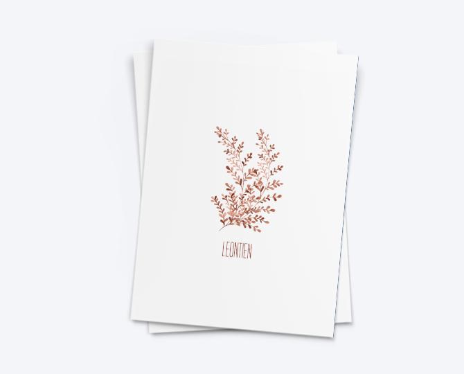 webshop G.012 geboortekaartje watercolor aquarel botanisch blaadjes communie huwelijk