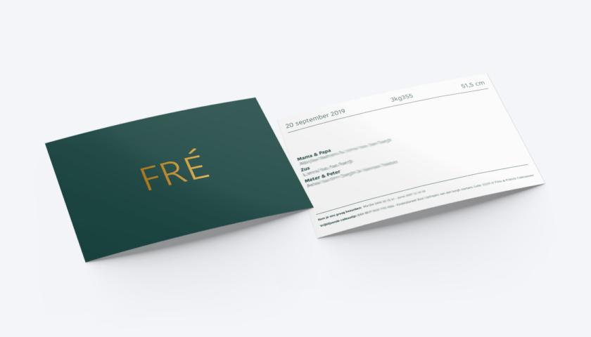 Geboortekaartje Fré Goudfolie brons koper donkergroen minimalisme minimalistisch kaartje RV __004