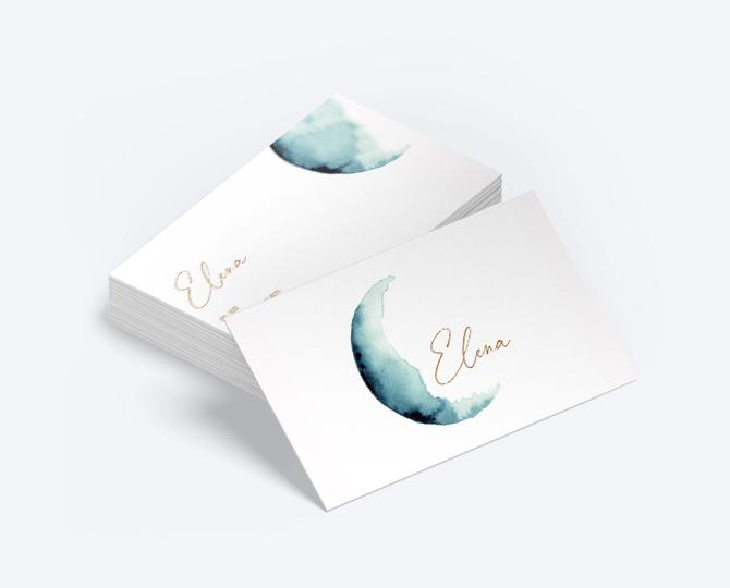 Webshop Ontwerp Geboortekaartje communie huwelijk UItnodigingen drukwerk goudfolie maan